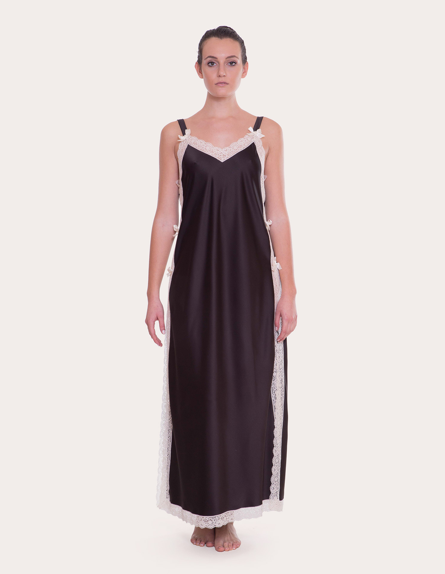 Fiocchi Black Satin Night Gown | Alida Ferrini Firenze