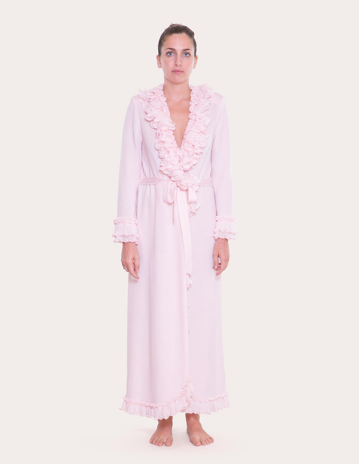 Lorena Pink Cotton Dressing Gown | Alida Ferrini Firenze